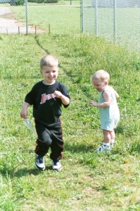 His first year at age 3. Notice how little Caden is here too, about 16 months.