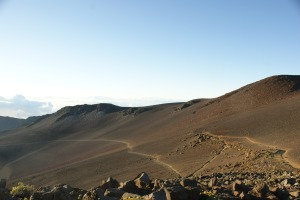 One side of the Haleakala crater